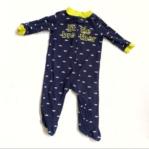 Carter's little brother blue white onesie footies